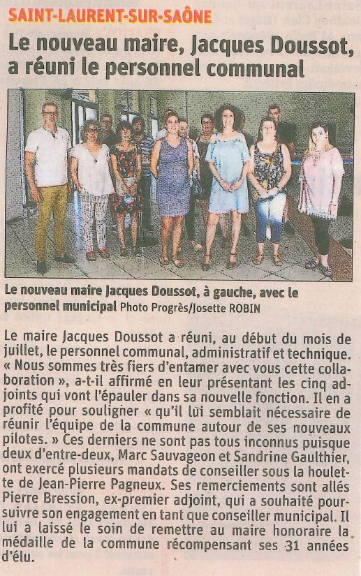 Le nouveau Maire, Jacques Doussot, a réuni le personnel communal