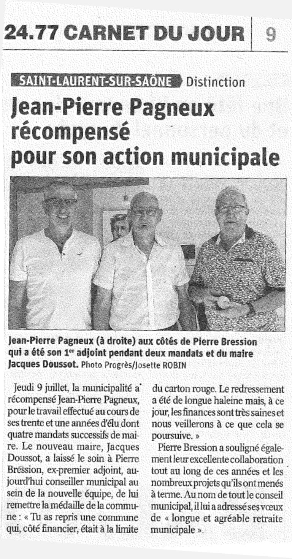 Jean-Pierre Pagneux récompensé pour son action municipale