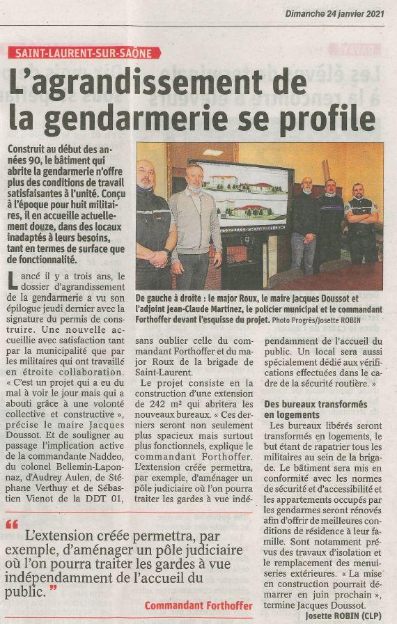 L'agrandissement de la gendarmerie se profile